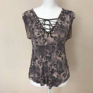 Guess Leopard Print, Suede String Top